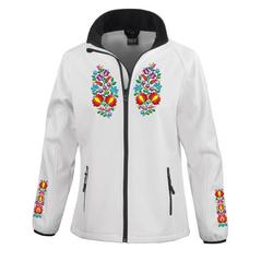 Dámska softshellová bunda Slovakia Folk s kvetmi, biela