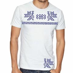 Pánske športové tričko vzor Čičmany modrí