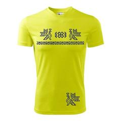 Pánske športové tričko žlté vzor Čičmany