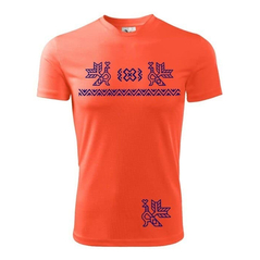 Pánske športové tričko oranžové  vzor Čičmany