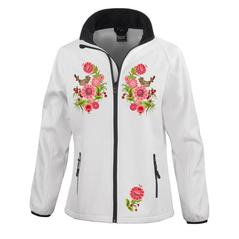 Dámska softshellová bunda Slovakia Folk biela s kvetmi