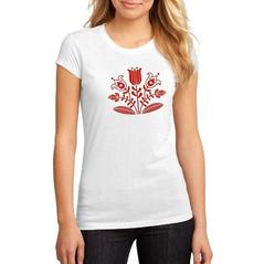Dámske biele tričko Slovakia Folk červený kvet