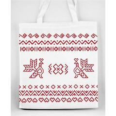 Pevná nákupná taška Slovakia Folk s Čičmanským ľudovým červeným vzorom