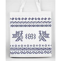 Pevná nákupná taška Slovakia Folk s Čičmanským ľudovým modrým  vzorom