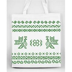 Pevná nákupná taška Slovakia Folk s Čičmanským ľudovým zeleným  vzorom