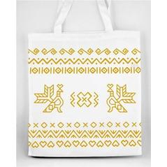 Pevná nákupná taška Slovakia Folk s Čičmanským ľudovým žltým  vzorom